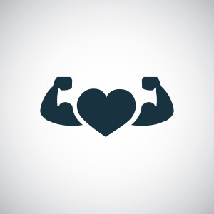 strong health icon, heart with muscle arms on white background
